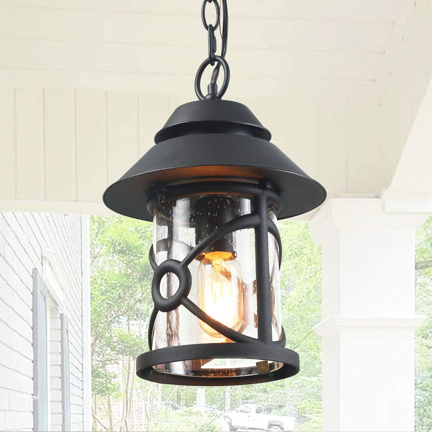 log barn outdoor pendant lights 12 6 farmhouse exterior hanging lights in black finish with clear seeded glass rustic outside pendant lantern for