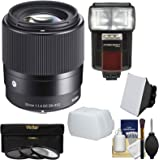 Sigma 30mm f/1.4 Contemporary DC DN Lens with 3 Filters + Flash + Diffuser + Soft Box + Kit for Sony Alpha E-Mount Cameras