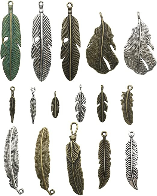 20Pcs Stainless Steel Leaf Feather Charms Pendants DIY Jewelry Earring Making