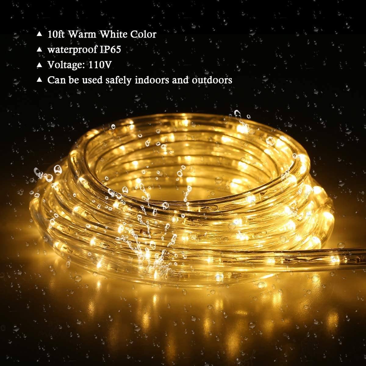 LED Strip Lights Outdoor Waterproof Decorative Lighting for Eaves Decorations,Backyards Garden and Party Decoration Buyagn 100Ft LED Rope Light Warm White