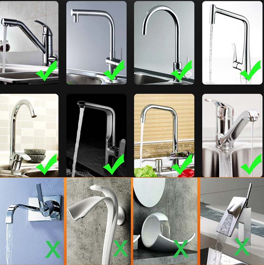 ixaer Water Saving Splash Head 3 Modes in One Button Elongated Extension Kitchen Household Tap Water Sprinkler 360/° Rotary Filter Adjustable Long Nozzle Convenient for Bathroom Eas Water Faucet Spray