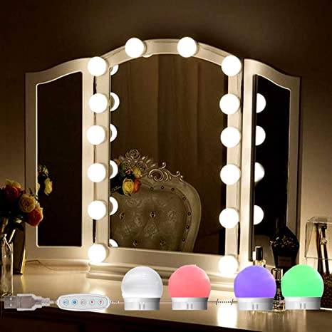 Amazon Com Selfila Vanity Lights For Mirror Adjustable Rgb Color Diy Hollywood Style Led Vanity Mirror Lights Kit In Dressing Room Bathroom Wall Mirror Mirror Usb Charger Not Include 14 Bulbs Home Improvement