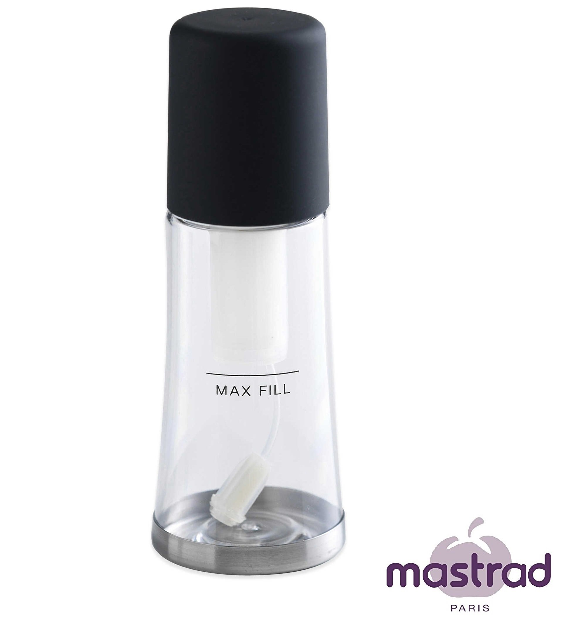 Olive Oil Mister - Oil Olive Sprayer Creates A Thin and Even Coat Of Oil On Salads, Breads, and More - 3.25 Ounces, by Mastrad (Black)