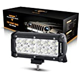 """Auxbeam 7"""" LED Light Bar 36W Driving Light 12Pcs 3W CREE LEDs 3600LM Flood Beam Waterproof for Off-road Truck 4x4 Military Mining Boating Farming and Heavy Equipment"""