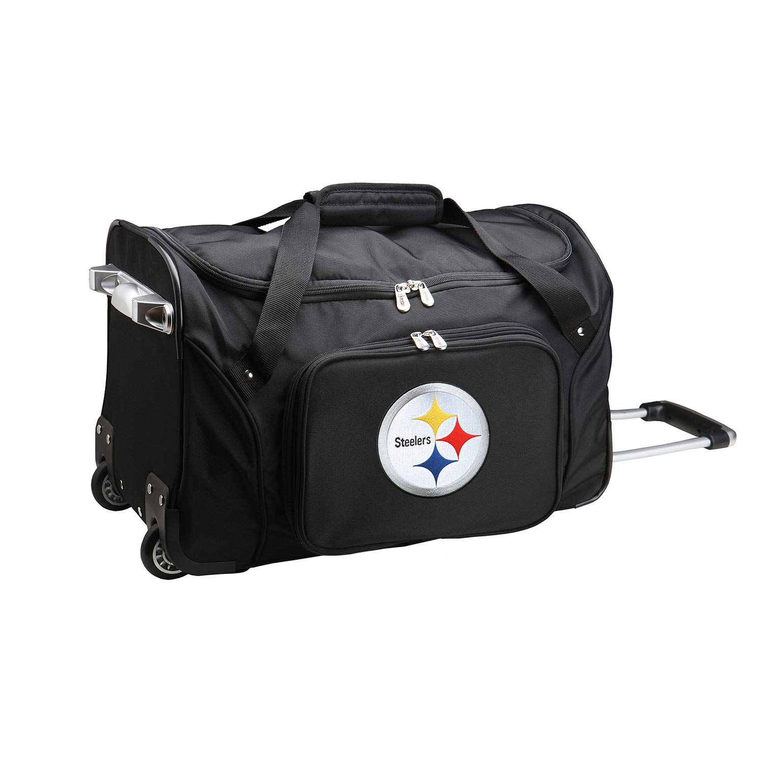 NFL Pittsburgh Steelers Wheeled Duffle Bag, 22 x 12 x 5.5, Black by Denco