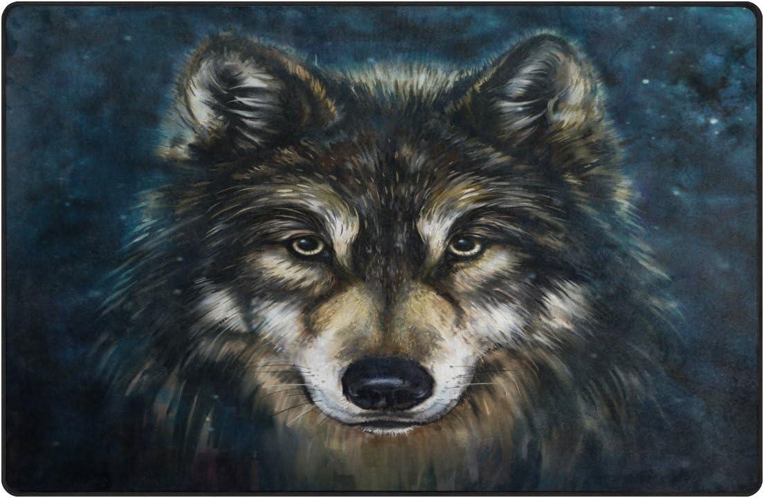 LORVIES Wolf Art Painting Area Rug Carpet Non-Slip Floor Mat Doormats for Living Room Bedroom 60 x 39 inches