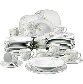 VEWEET Emily Juegos de Vajillas 60 Piezas de Porcelana con 12 Taza 175 ml, 12