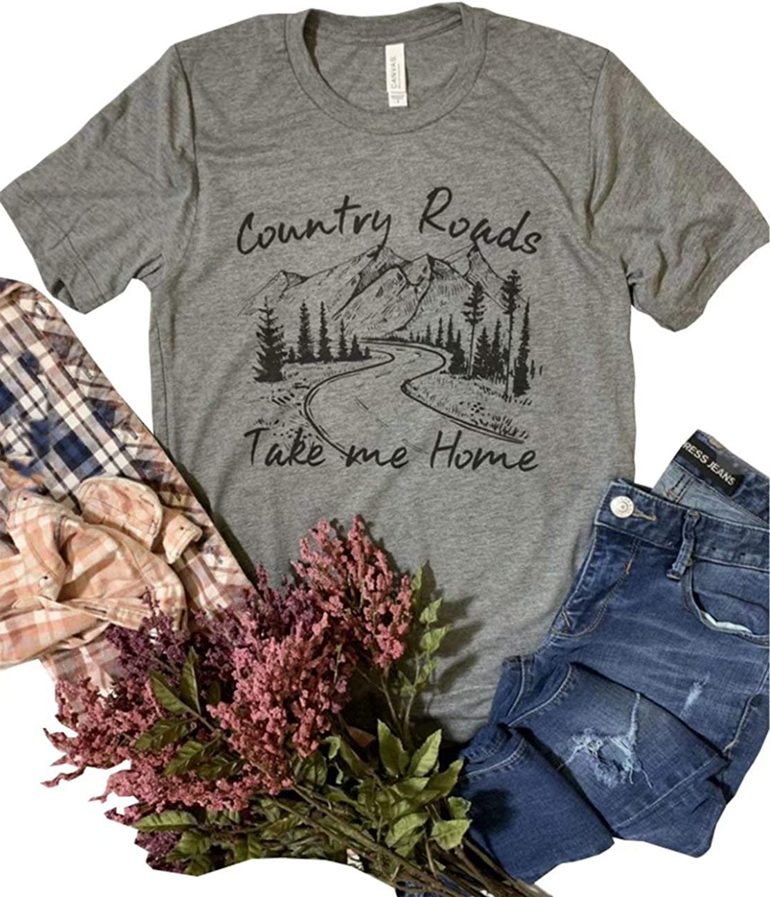 KIDDAD Womens Country Roads Take Me Home Letter Print Graphic Print T Shirt Country Music Casual Tees Tops Blouse