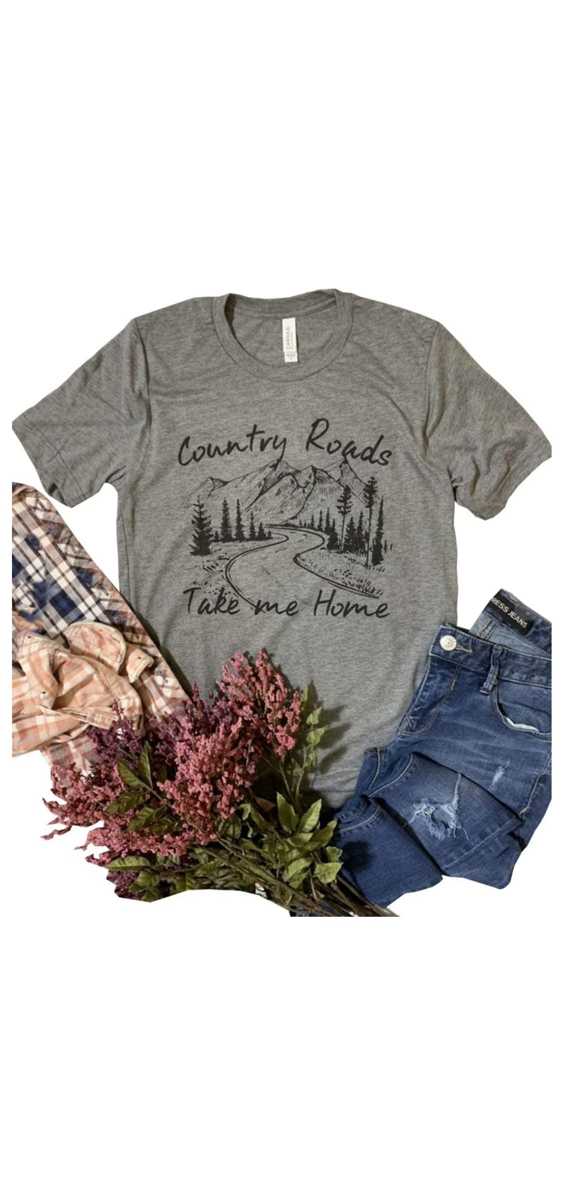 Women's Country Roads Take Me Home Letter Print Graphic T