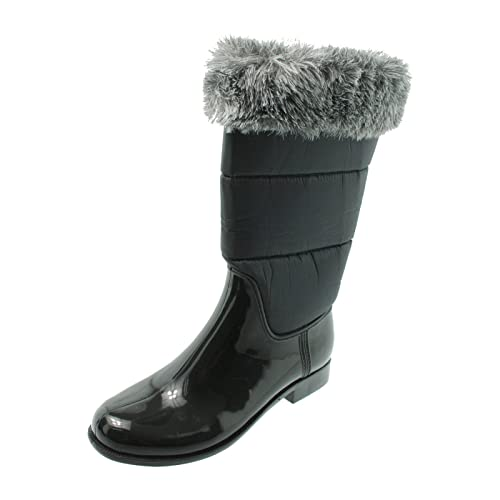 1c20323d396 GreenBox Official Women Black with Grey Fleece Top Fashion Rain Boots Heel  Boot US 7 (
