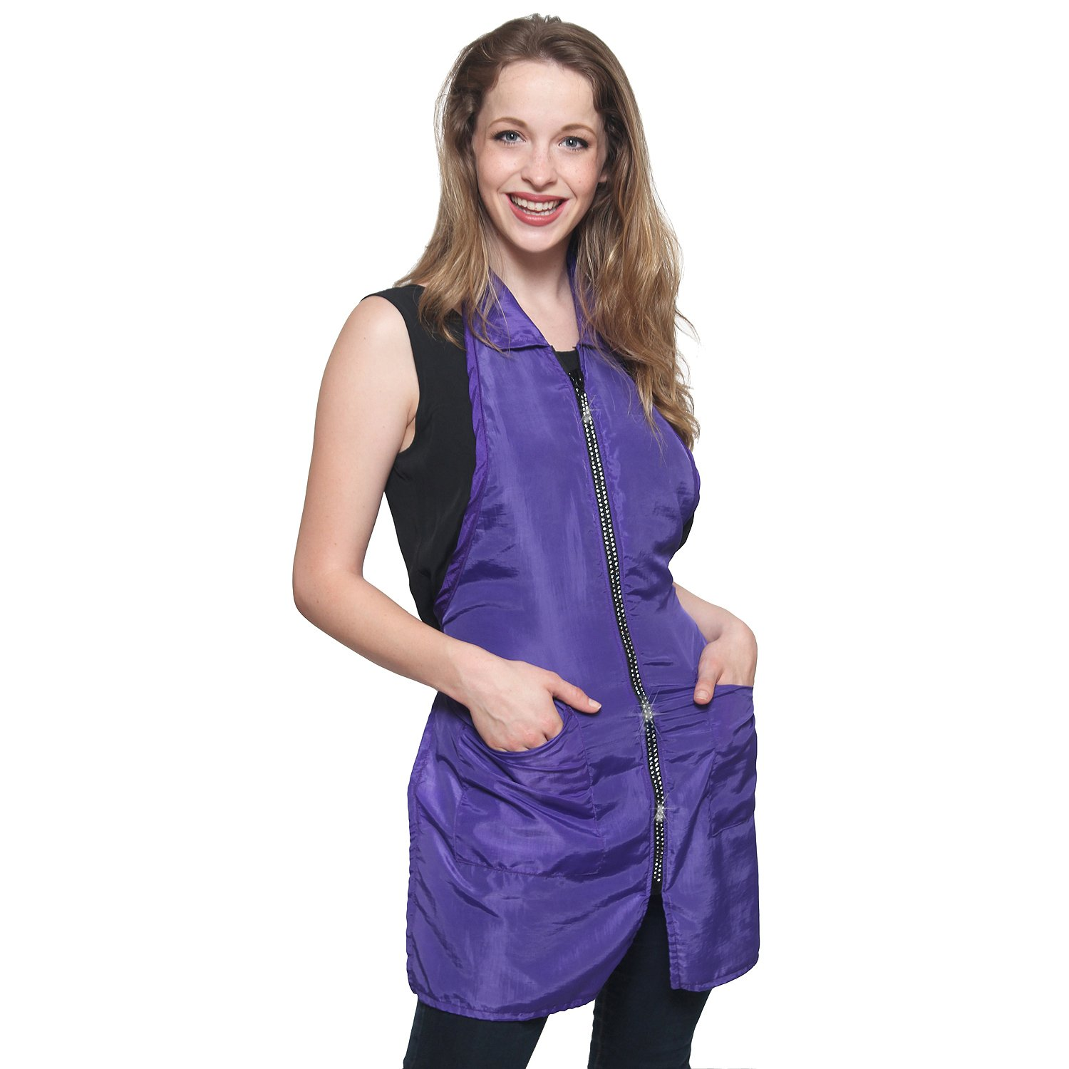 Mane Caper Rhinestone Salon Apron, Professional Quality Thigh Length with Collar Nylon Material Light Weight Extra Durability Protection, Specialized for HairCutting (purple) by Mane Caper