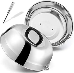 HaSteeL 12 inch Cheese Melting Dome, Heavy Duty Round Basting Steam Cover, Stainless Steel Griddle Grill Accessories for Flat Top BBQ Kitchen Cooking Indoor & Outdoor, Dishwasher Safe - (2Packs)