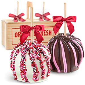Be My Valentine Milk & White Chocolate Covered Caramel Apples Gift Crate