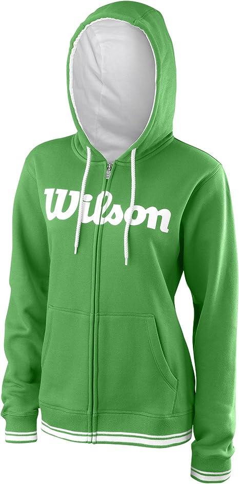 Wilson Damska Sport-Kapuzenweste, W Team Script FZ Hoody, Baumwolle/Polyester, Grün/Weiß, Größe: L, WRA766702: Odzież
