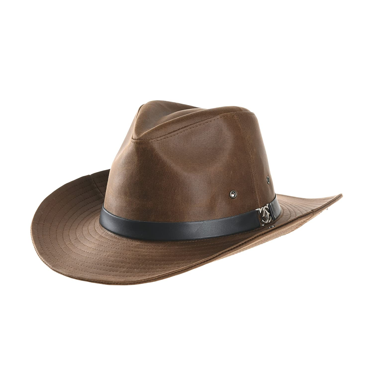 WITHMOONS Faux Leather Indiana Jones Hat Outback Hat Fedora CD8859 (Black)  at Amazon Men s Clothing store  9abc93c560e