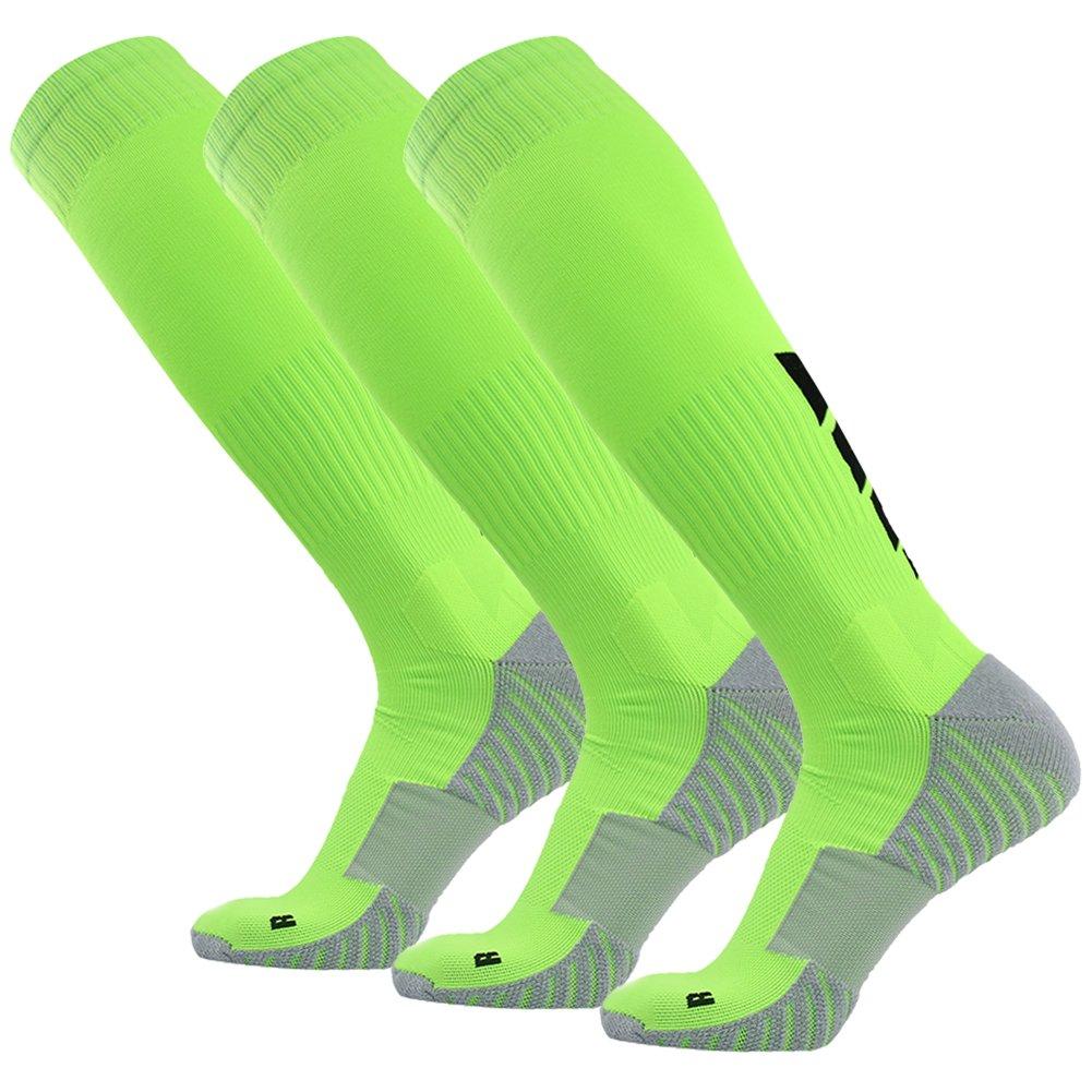 サッカーソックス、3streetユニセックスアスレチック圧縮ソックス1 / 2 / 3 / 4 / 6 / 10ペア B01EA7TKZE M(Fit For US 8-12)|3-Pairs green 3-Pairs green M(Fit For US 8-12)