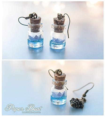 b1919eefc665 Amazon.com: Paper boat bottle earrings. delicate earrings. ocean in ...