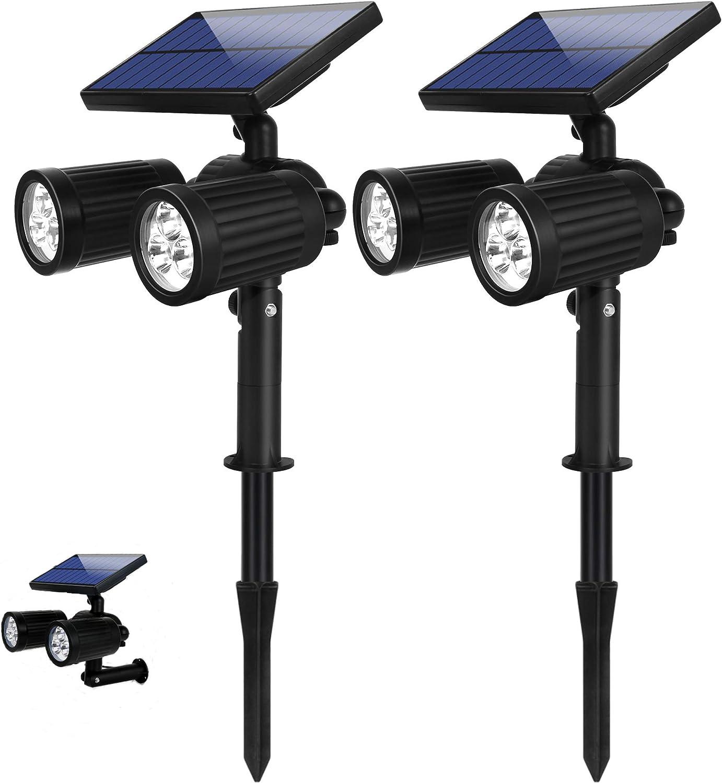 Luz Solar Exterior, 2 en 1 Focos Led Exterior 12 Horas 6 LED solares luces con 350 Lúmenes Impermeable IP65 6 lugares Ajustable ,Para Terraza Césped Jardín Patio Camino
