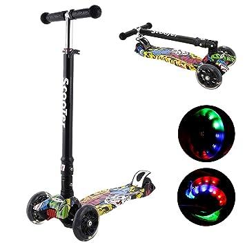 Bunao Patinete de 3 Ruedas Scooter Plegable con PU LED Luces ...