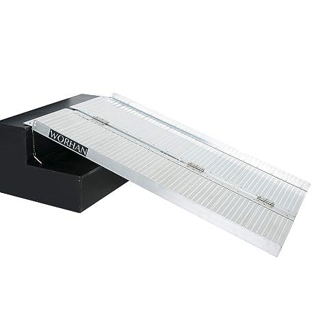 WORHAN® Rampa Plegable Carga Silla de Ruedas Discapacitado Movilidad Aluminio Anodizado (122cm solo pliegue