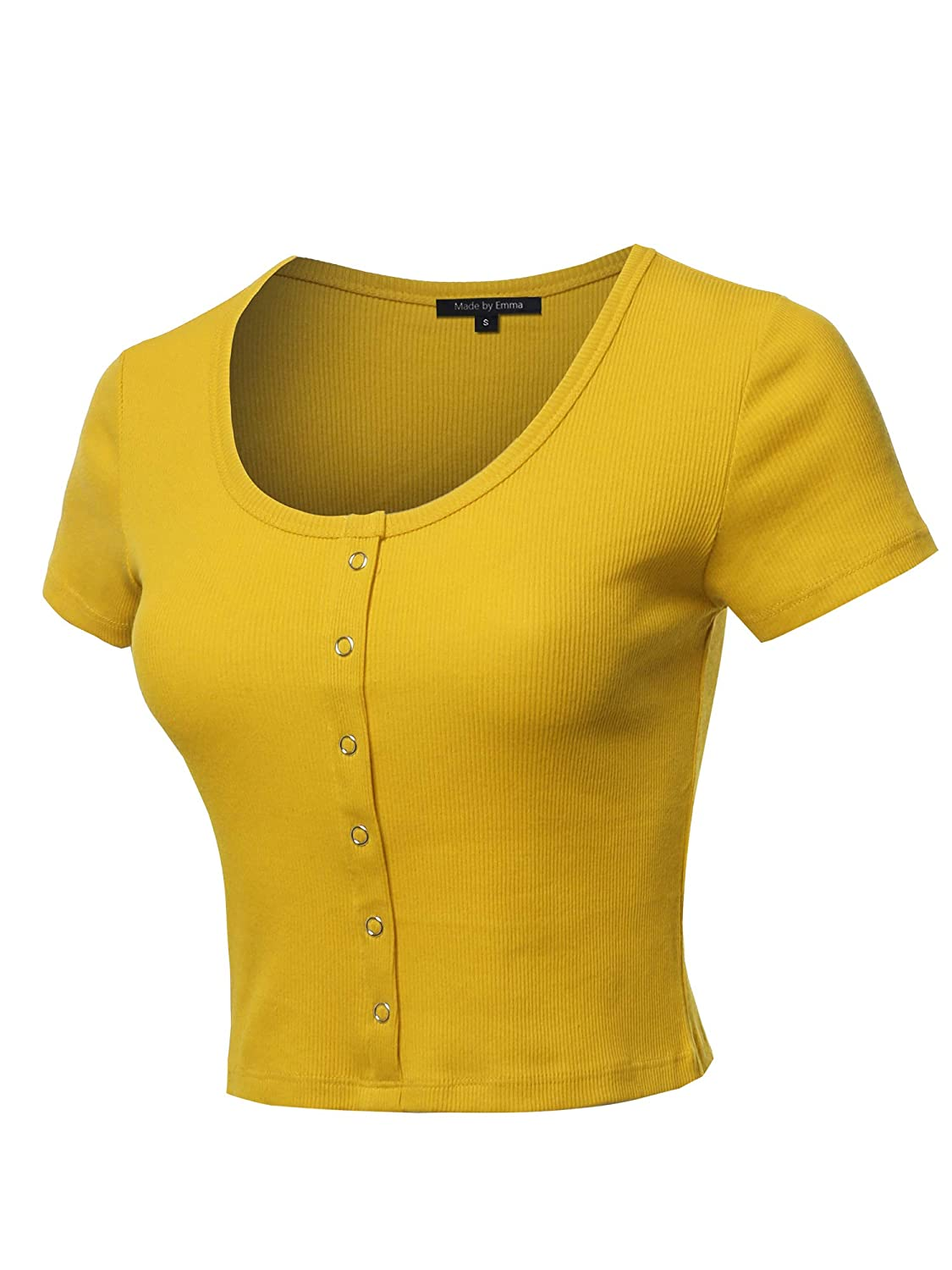 Womens Basic Solid Button Placket Ribbed Half Sleeve Deep Crew Neck Crop Top