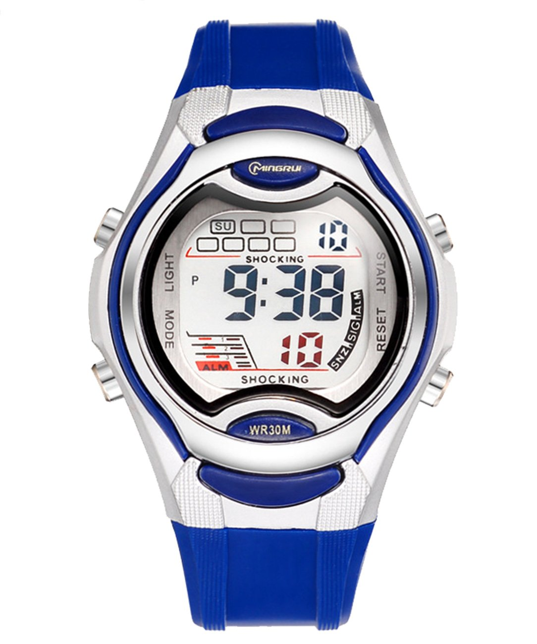 MINGRUI 50M Waterproof Watches Electrical Luminescent with Alarm Calendar Date Window Watch - Blue
