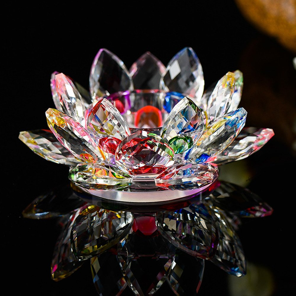 Purple YA-Uzeun 7 Colors Crystal Glass Lotus Flower Candle Tea Light Holder Buddhist Candlestick