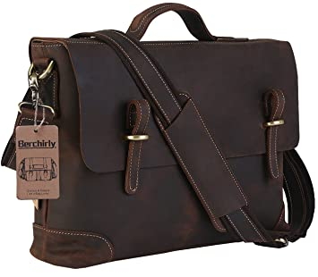Amazon.com: Men's Leather Laptop Bag, Berchirly Vintage Look Crazy ...
