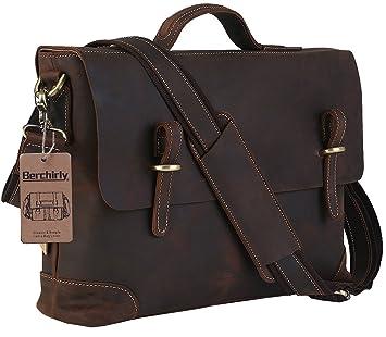 Amazon.com: Men's Leather Laptop Bag, Berchirly Vintage Look Crazy ...