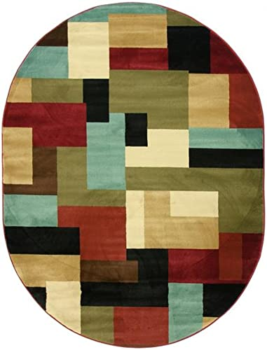 Imperial Mosaic Multicolor Geometric Modern Casual Area Rug 5×7 5'3″ x 6'10″ Easy to Clean Stain Fade Resistant Shed Free Abstract Contemporary Color Block Boxes Soft Living Dining Room Rug