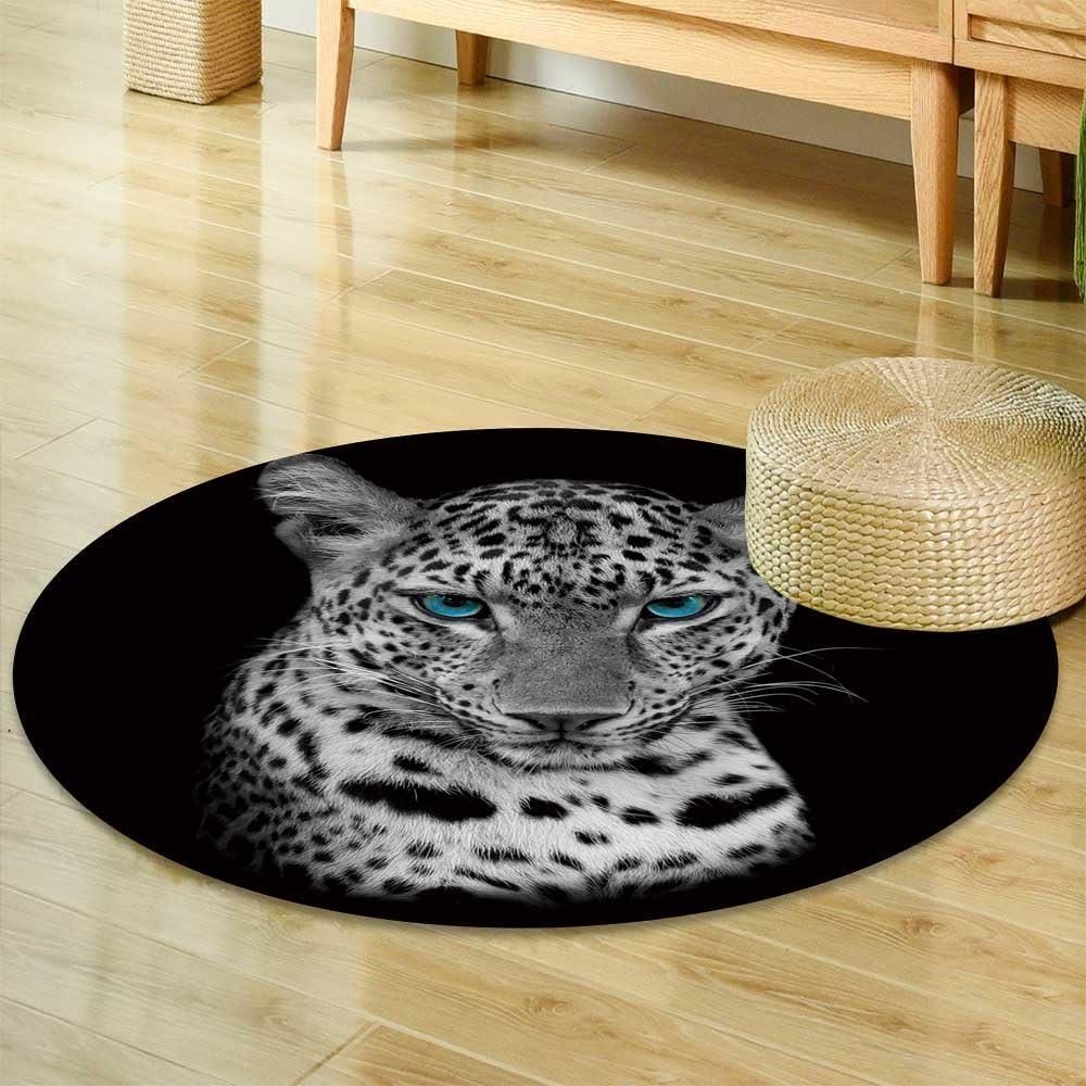Indimization Estampado de Leopardo Rosa Alfombra Redonda decoraci/ón Arte Antideslizante ni/ños Lavables a m/áquin Suave Sala Estar Dormitorio de Juegos para 70x70cm
