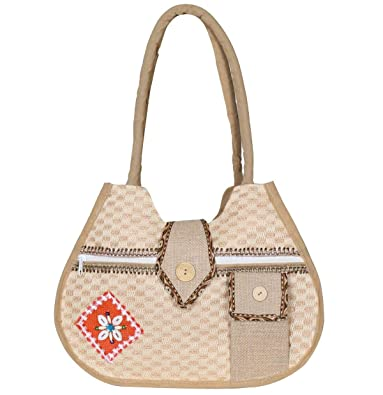 Aadriti Womens Jute Bag - Multipurpose Bag/Hand bag/Totes/shoulder bag Natural Beige