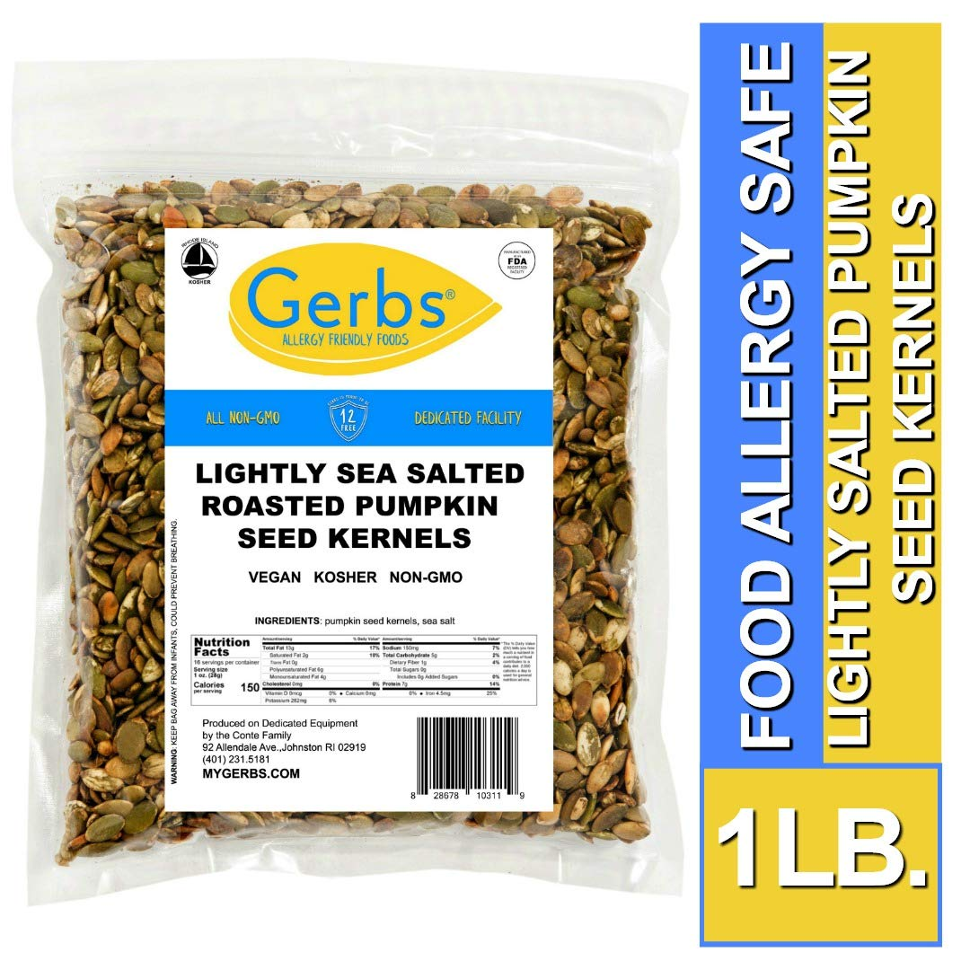 Gerbs Lightly Sea Salted Pumpkin Seed Kernels, 1 LB. - Top 14 Food Allergy Free & NON GMO - Vegan, Keto Safe & Kosher by GERBS