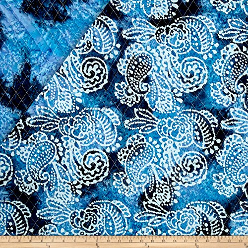 Indian Batik Double Face Quilted Paisley Blue Fabric By The Yard