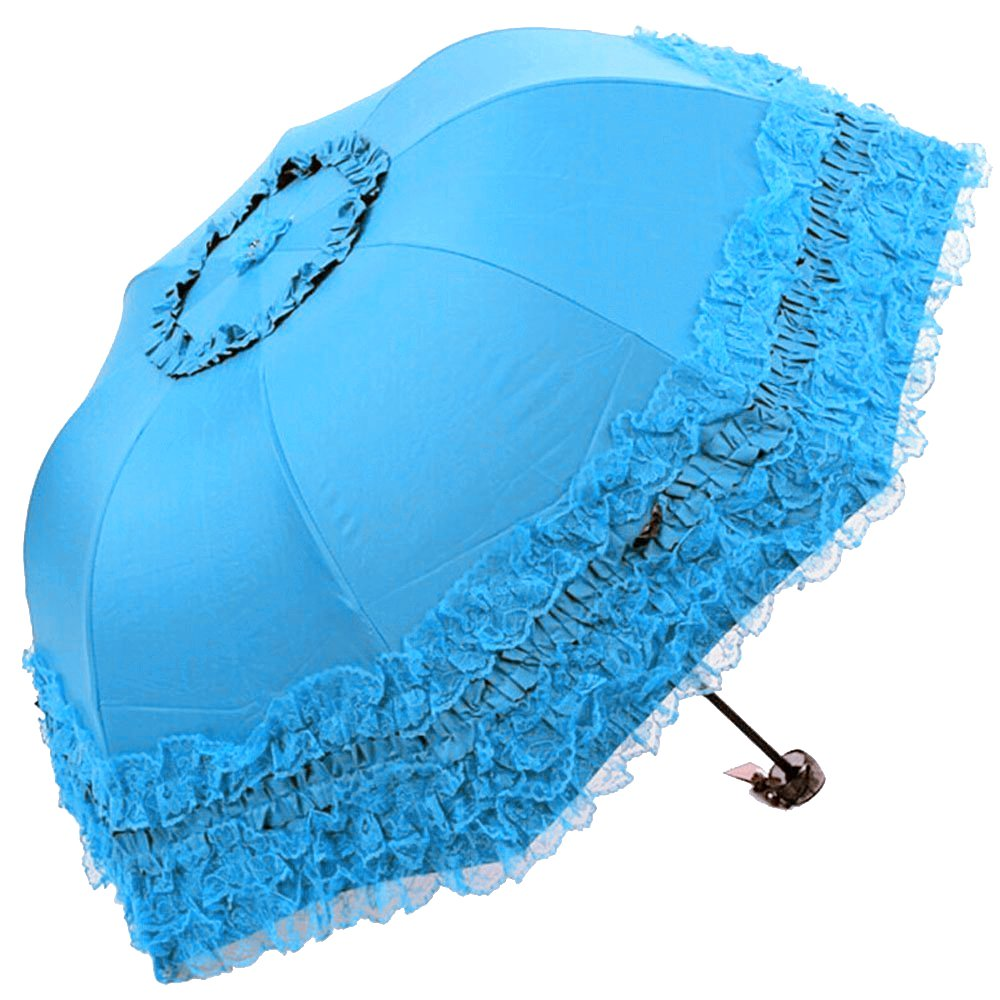 Honeystore Princess Lace Ultraviolet-Proof Folding Umbrella Anti-uv Dome Parasol Style1 Aqua 20160329-012