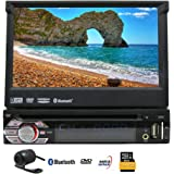 EinCar 7'' Touch Screen Car Stereo with GPS Navigation In Dash Bluetooth Single 1 Din DVD CD Receiver AM FM Radio Audio System with Remote Control/8GB Map Card/Backup Camera