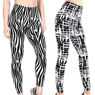 2 Pack Women Girl Zebra Stripes Cross Pattern Leggings Funky at Women's Clothing store