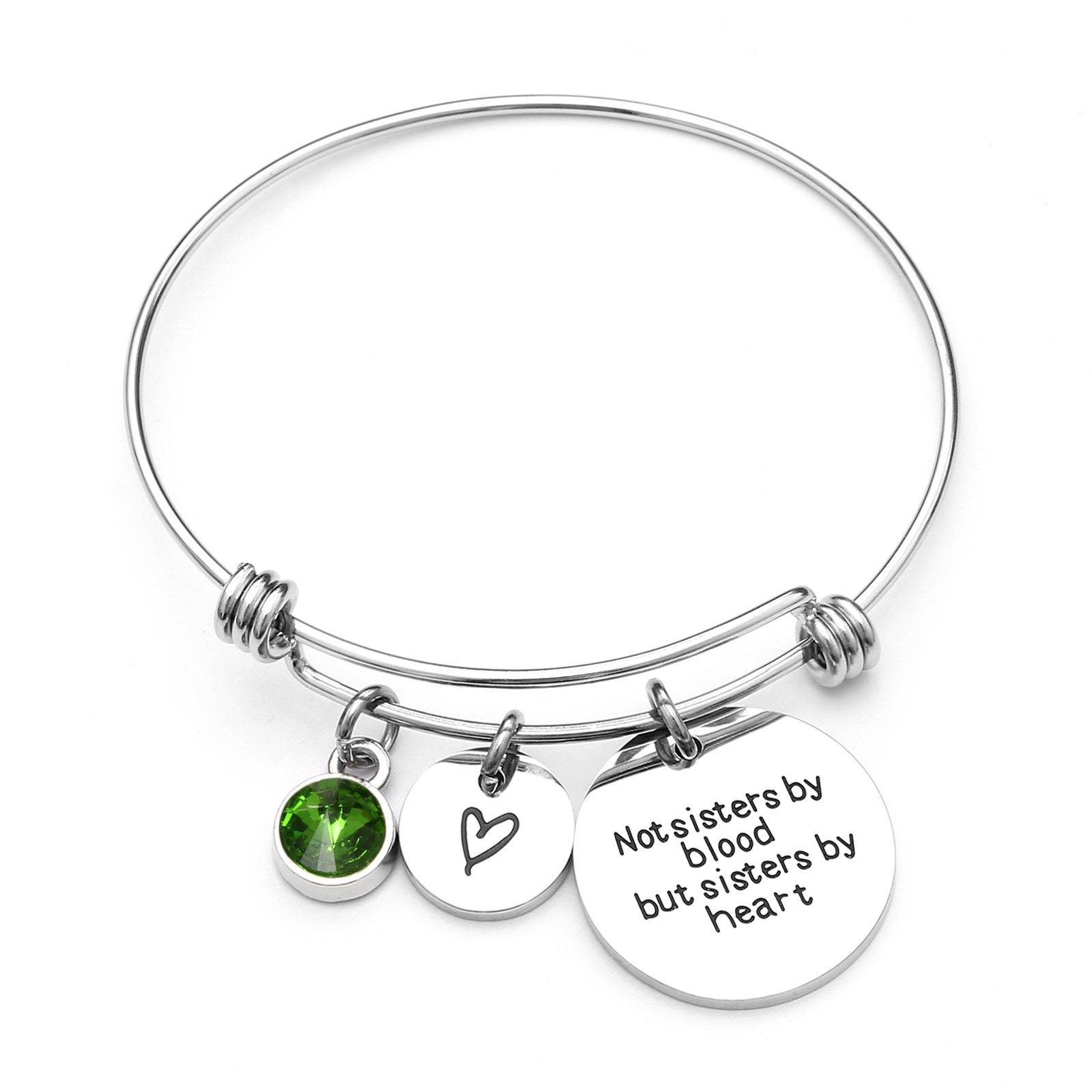 Best Friends Bracelets- Not Sisters By Blood But Sisters By Heart Bracelet- Sister Jewelry (August)
