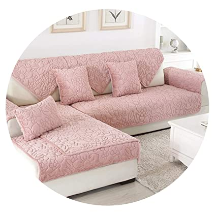 Amazon.com: Green Pink Floral Quilted Sofa Cover Winter ...