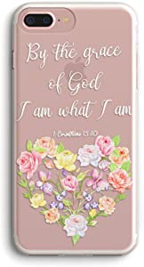 iPhone 7 Plus Case and iPhone 8 Plus Case with Flowers,Lovely Flowers Floral Pattern Bible Verse Inspirational Soft Clear Flexible TPU Case for iPhone 7/8 Plus