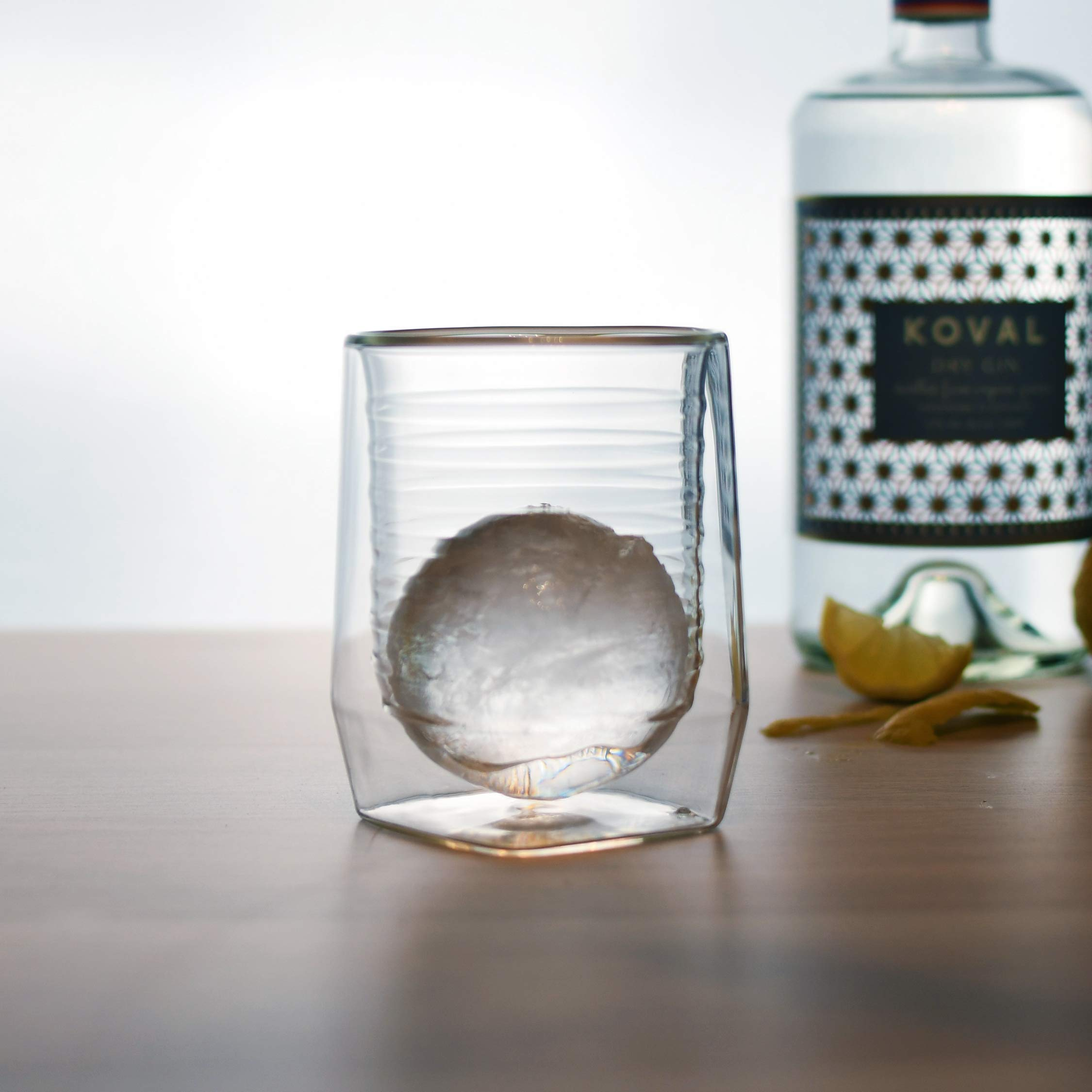 Aged & Ore - The Duo Glass | Hand Blown Double Walled Whiskey Glass Gift Set with Free Silicone Ice Molds | Integrated Measuring Lines for the Perfect Cocktail | Durable Modern Tumbler | Set of 4 by Aged & Ore (Image #8)