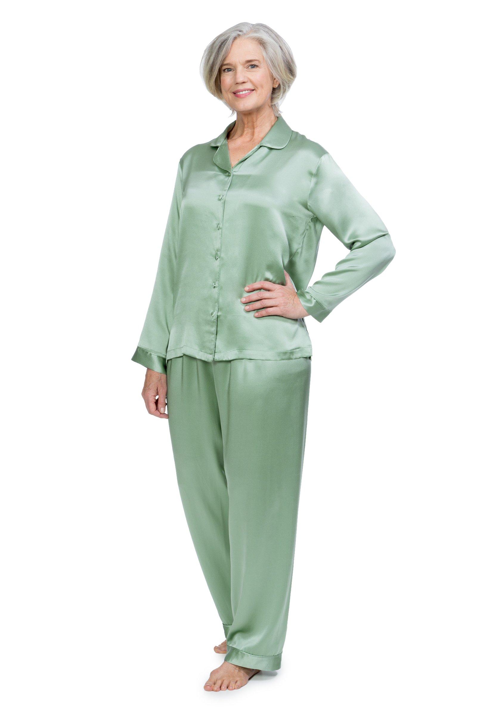 TexereSilk Women's 100% Silk Pajama Set - Luxury Sleepwear PJS by (Morning Dew, Lily Green, 2X/Petite) Elegant Sleep Wear For Her WS0001-LGN-2XP