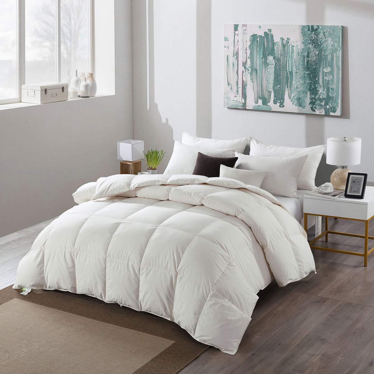 APSMILE Premium Siberian All Season Goose Down Duvet -Comforter Twin -100% Original Cotton Cover, 33 Oz Lightweight Hypoallergenic Duvet Insert(Twin - White) APSMILE Bedding