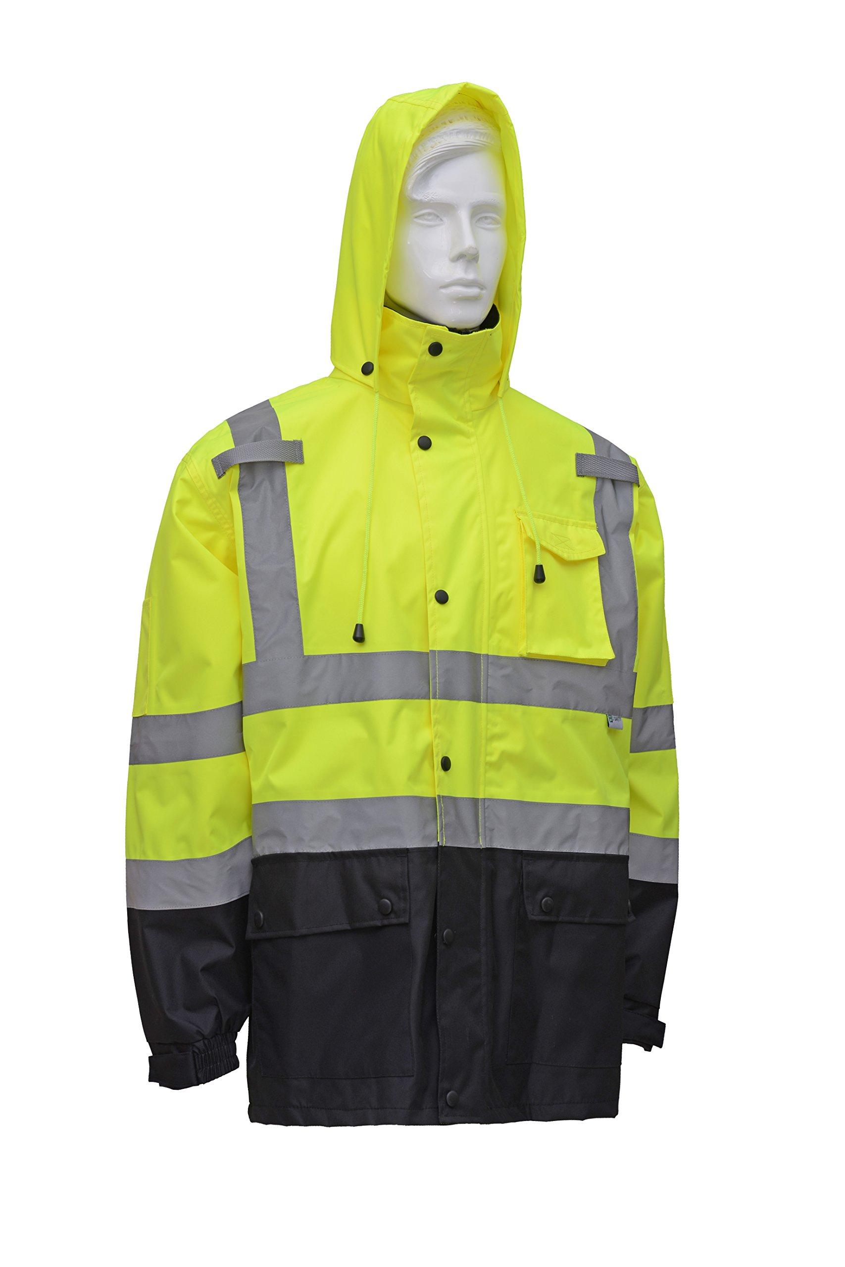 CJ Safety CJHVRJ3002 High Visibility Black Bottom Safety Rain Jacket (Extra Large)