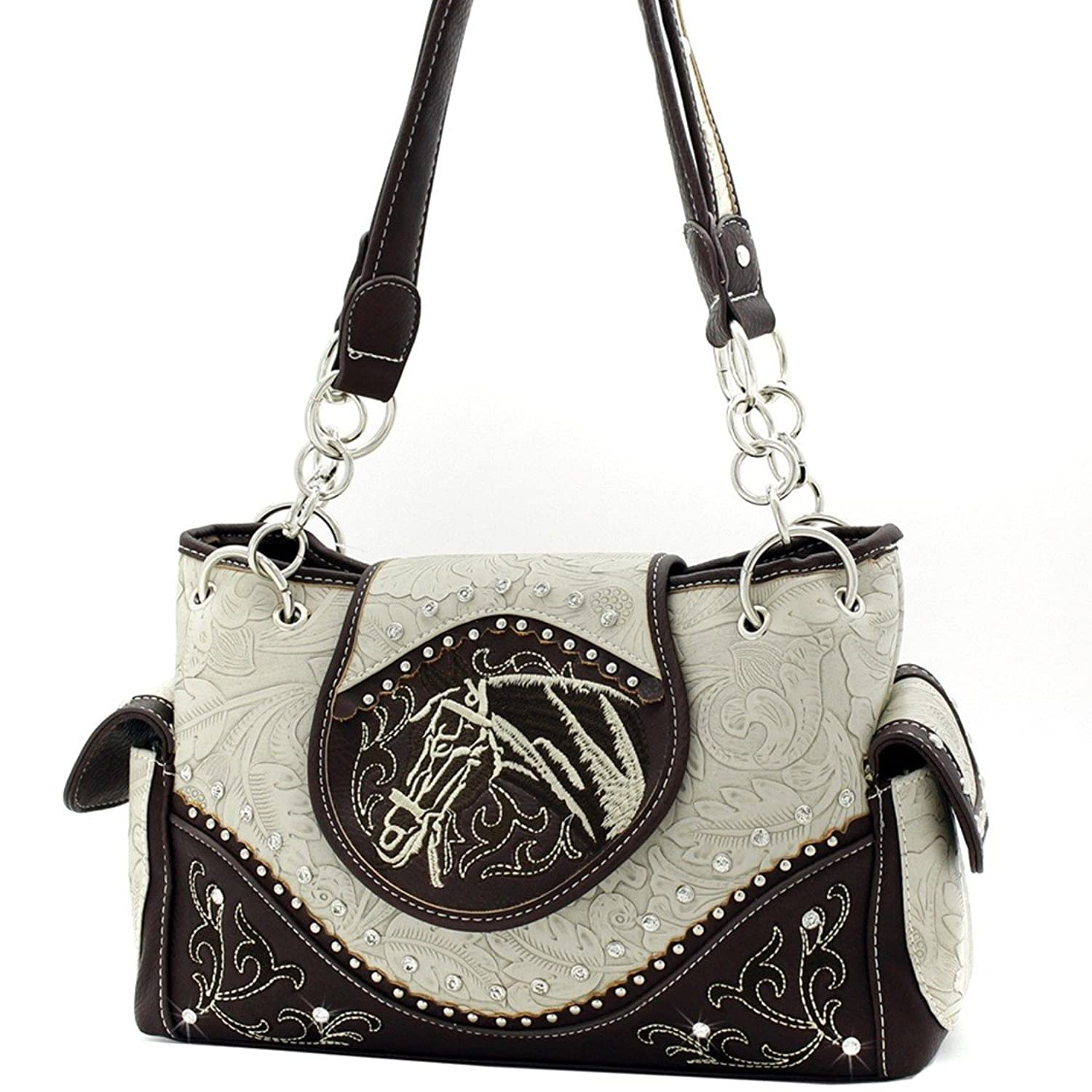 Brown Embroidered Western Horse Head Messenger PURSE