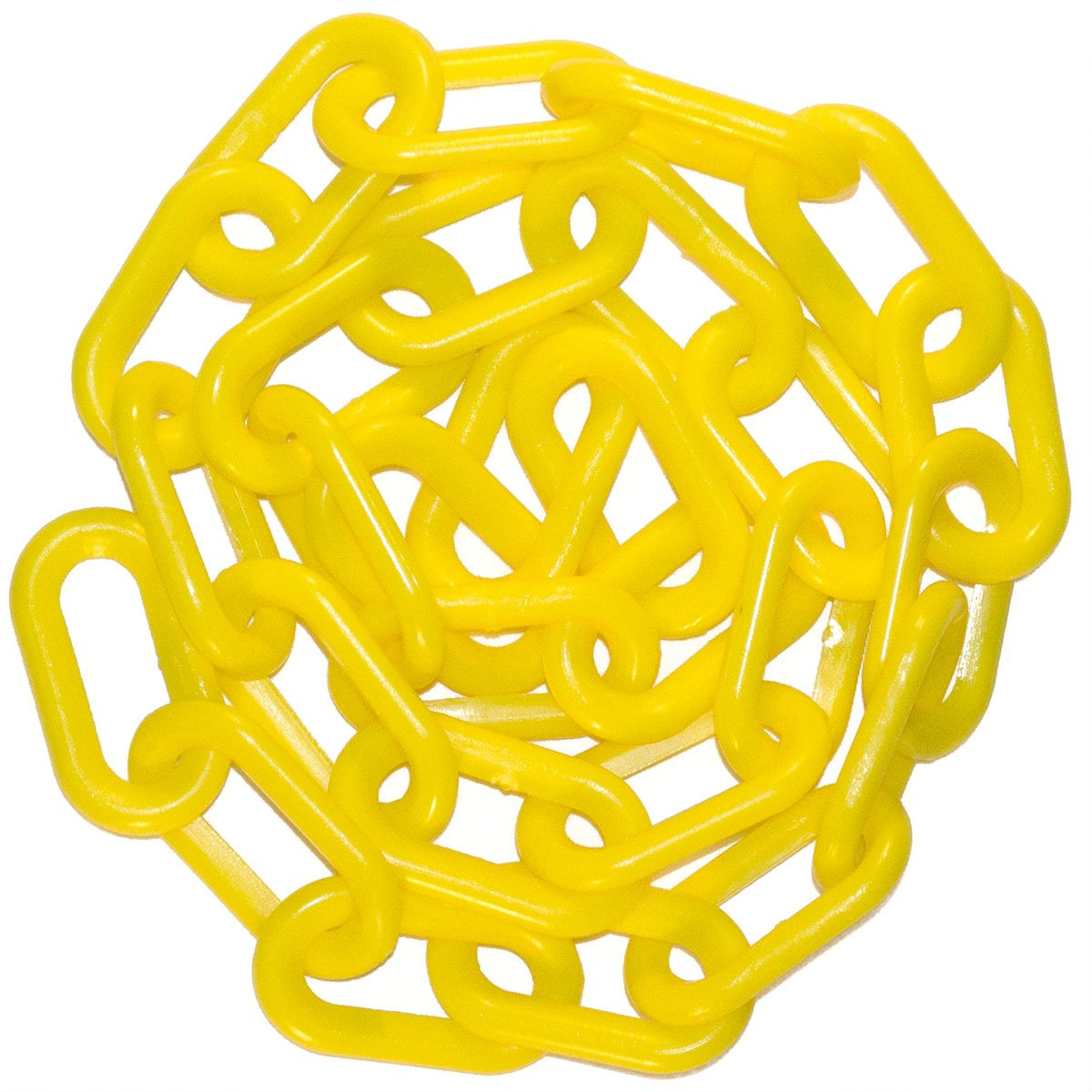 Mr. Chain Heavy-Duty Plastic Barrier Chain Reel, Yellow, 2-Inch Link Diameter, 100-Foot Length (51102)
