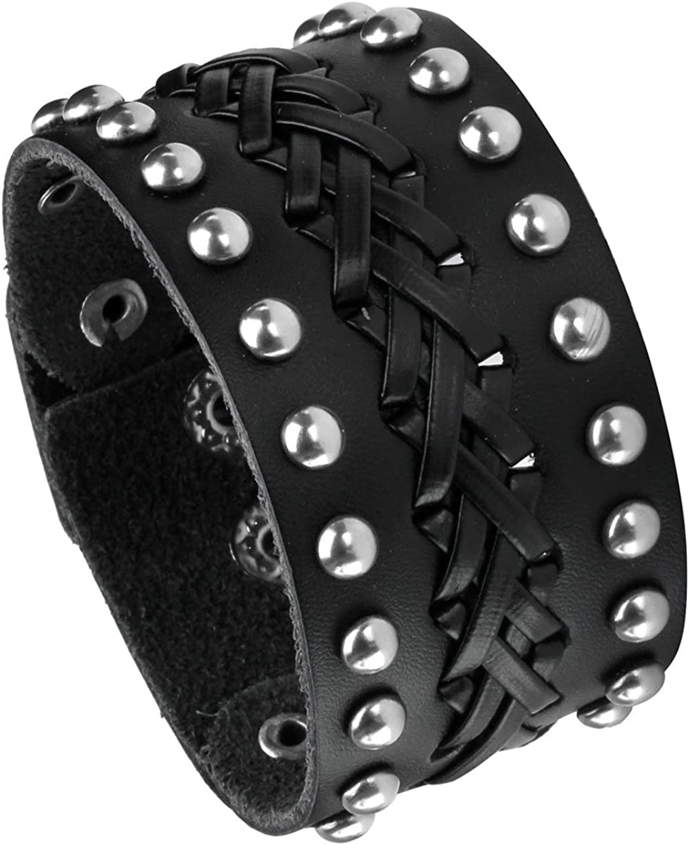 EIGSO Vintage Retro Punk Braceler Wide Belt Wristband PU Leather Snap Button Clasp for Men Women