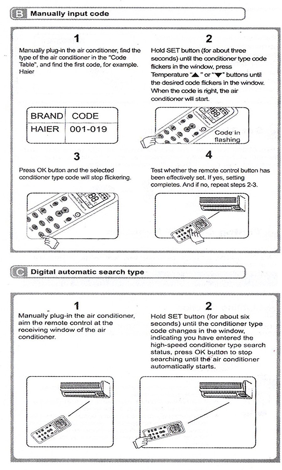 haier aircon manual