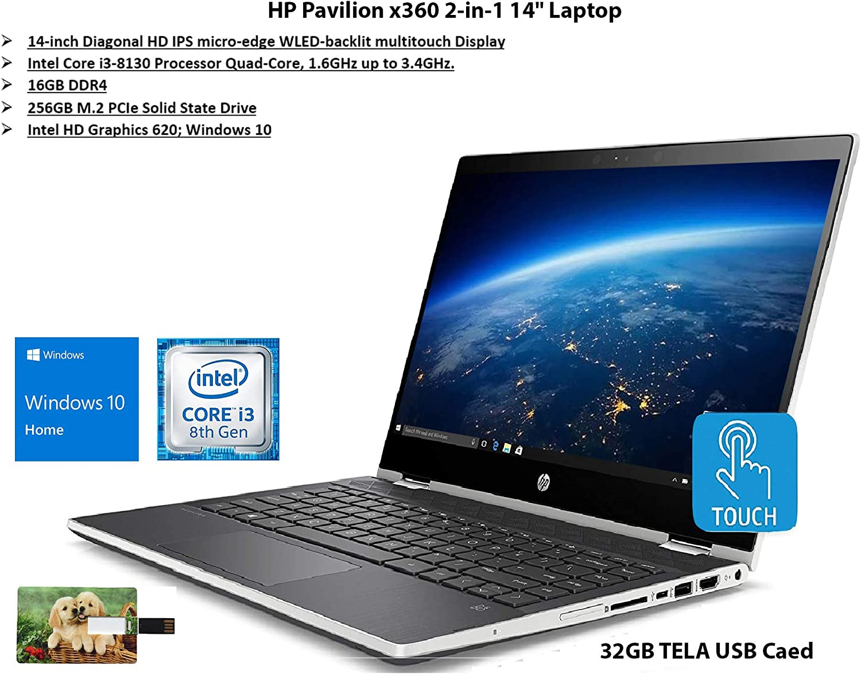 "2020 Newest HP Pavilion x360 2-in-1 14"" Diagonal HD IPS Touchscreen Laptop Intel Core i3 16GB SDRAM 256GB SSD Ash Silver Keyboard Frame, Natural Silver, Windows 10 | 32GB Tela USB Card"