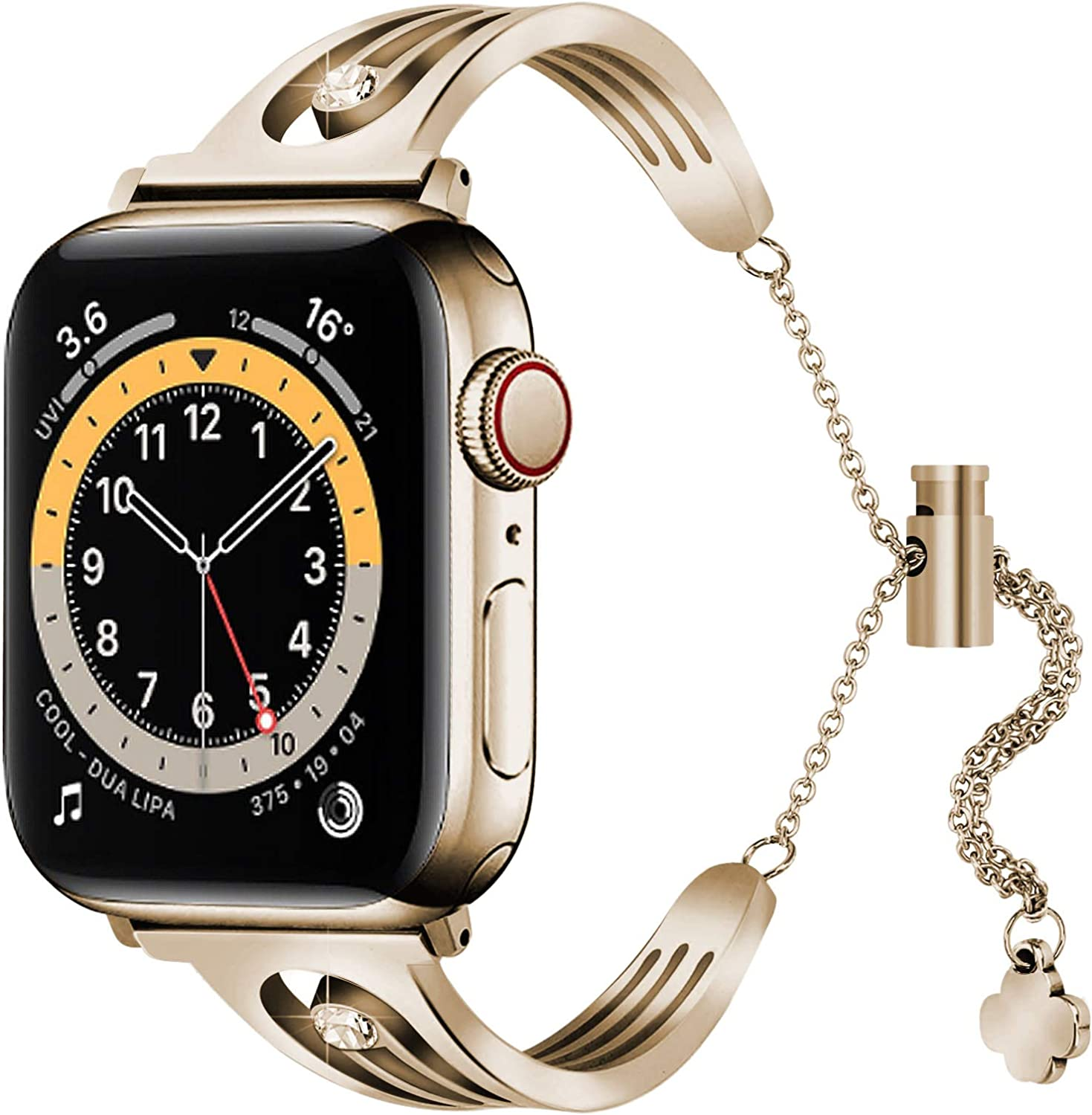 KAYSEUN 316 Stainless Steel Replacement Bands Compatible with Apple Watch SE & 6 44mm 40mm, Shining Polished Bracelet Wrist Watch Band for Women (Champagne Gold, 40mm/38mm)